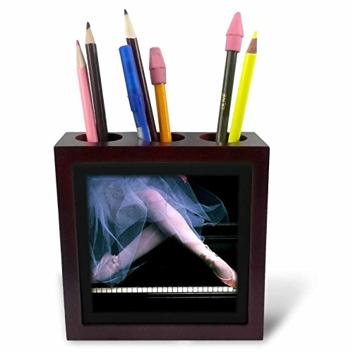 3dRose ph_41648_1 Pink Ballerina on Black Piano-Tile Pen Holder, 5-Inch