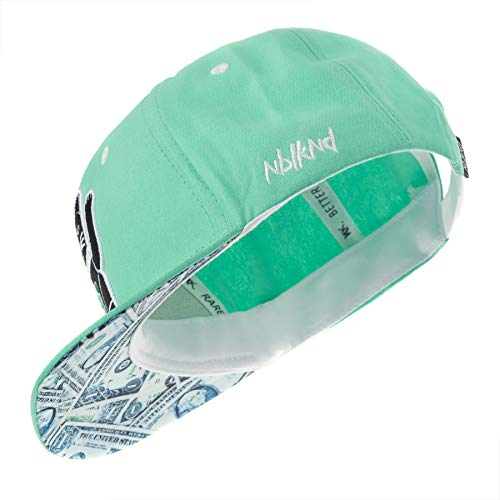 Nebelkind Snapback Cap Winkekatze Maneki-Neko Dollar Mintgrün Größenverstellbar Unisex One Size