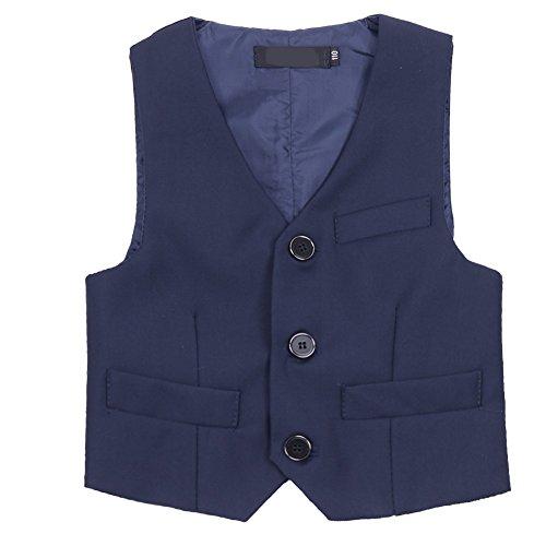 TiaoBug Anzug-Weste schwarz/blau- Gr.98-152 Kinder Jungen Weste Smoking Anzug Anzugweste festlich Marineblau 122-128 (Herstellergröße: 130)