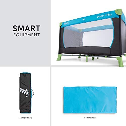 Hauck Kinderreisebett Dream N Play / inklusive Einlageboden und Tasche / 120 x 60cm / ab Geburt / tragbar und faltbar, Wasser (Blau) - 3