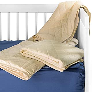 Waterproof Crib Flat Mattress Pad by QuickZip - 100% Natural Cotton Quilted Top Layer - Luxuriously Soft! Pairs Perfectly with QuickZip Crib Zip-On Sheets