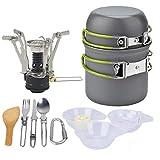 Utensilios de cocina de camping-Cooking Set Kit de lío para 2 personas 2 Ligera pan pot 2 tazas y Mini Estufa cuchillo tenedor cuchara kits para Backpacking al aire libre Trekking senderismo y picnic