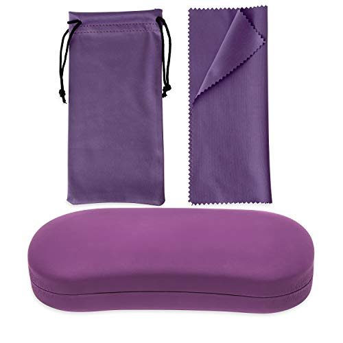 Large Hard Shell Eyeglass Case Holder + Pouch For Glasses And Sunglasses Unisex + Microfiber Cloth (Purple)