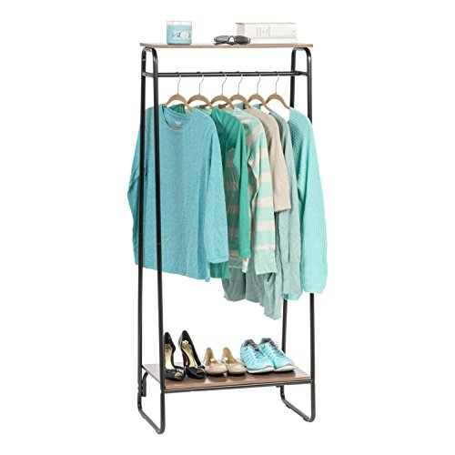 IRIS USA Metal Garment Rack with 2 Wood Shelves, Black and Dark Brown PI-B2