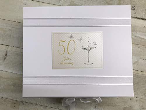 White Cotton Cards - Caja de recuerdo de celebración de bodas de oro (tamaño grande),...