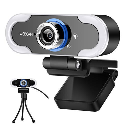DZSF Webcam con Anillo De Micrófono Light-HD 1080P Face Lad con Trípode, Enchufe USB Y Reproducir Cámara Web De Transmisión con Trípode, Brillo Ajustable