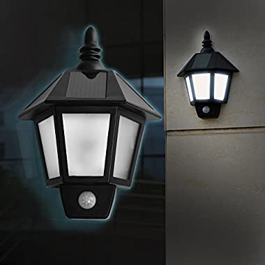 Wall Lamp, AGPtEK Infrared Motion Sensor Light Solar Powerd LED Security Motion Sensor Detector Activated with Two Smart Modes for Patio, Deck, Yard, Garden, Home, Driveway, Stairs - 2 PCS