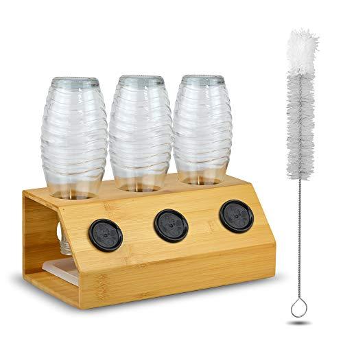 WiLa Home® Premium Abtropfhalter für SodaStream aus hochwertigem Bambus   Flaschenhalter geeignet für z.B Crystal Glasflaschen mit Abtropfschale und Reinigungsbürste
