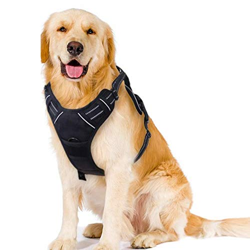 Dog Harness No Pull Adjustable Reflective Pet Harness Easy Control Handle Oxford Soft Mesh Vest for Large Dogs Walking Training with 2 Leash Clips, Black, L