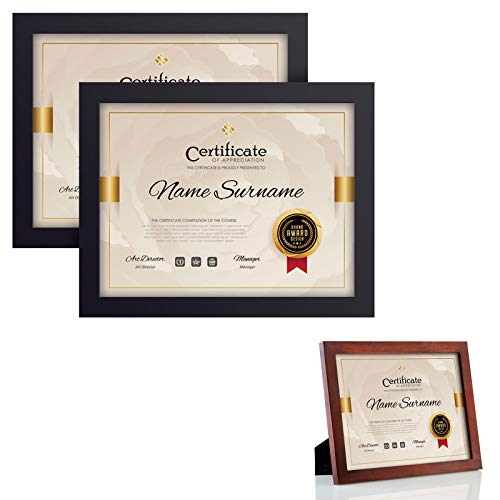 RPJC 3 pcs Sets Solid Wood Document Frames Display Certificate 8.5x11 inch Brown and 8.5x11 inch Black
