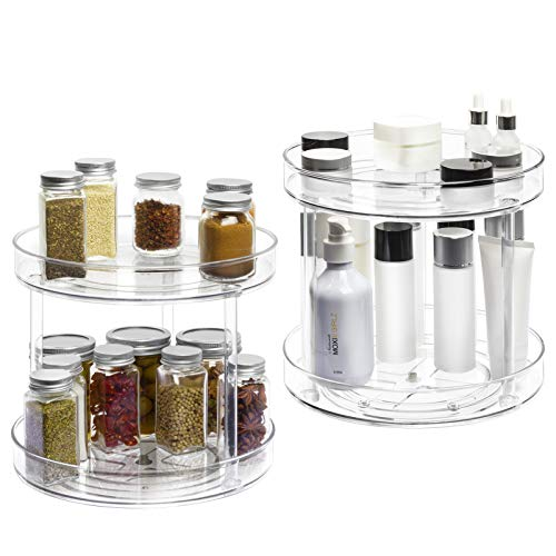 2 Tier Lazy Susan -2 Pack Plastic Clear Spinning Organization & Storage Container Bin 10.5 Inch Round Turntable Condiment Spice Rack for Cabinet Pantry Countertop Kitchen Fridge Vanity Bathroom Makeup