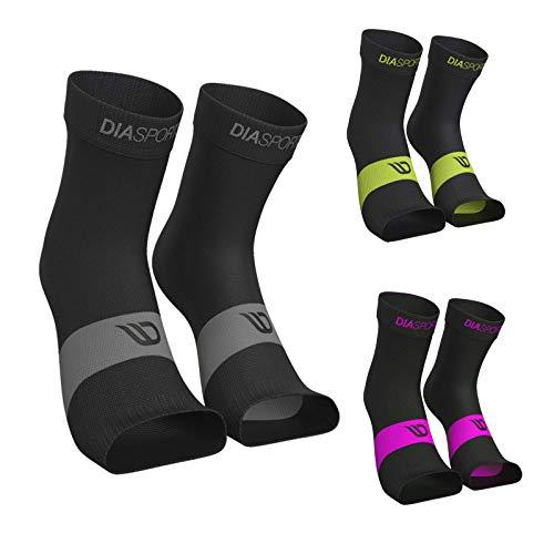 Fußbandage SANKLES für Damen und Herren (2 Paar) - Knöchelbandagen zur Stabilisierung von Sprunggelenk und Knöchel - Elastische Sprunggelenkbandage zur Unterstützung beim Sport (Schwarz/Grau, S)
