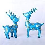 GCE 2 unids/Set Estatua de Ciervo de Resina Abstracta Moderna Adornos decoración del hogar Escultura geométrica