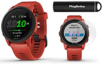 Garmin Forerunner 745  Magma Red  Power Bundle   +HD Screen Protectors & PlayBetter Portable Charger   Heart Rate Built-in Sports Apps Music   Running & Triathlon GPS Watch