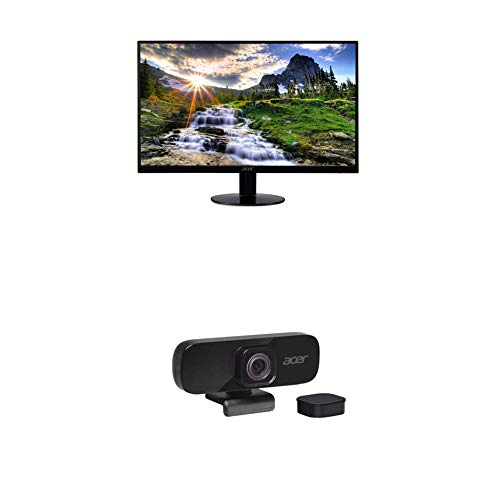 Acer SB220Q bi 21.5 Inches Full HD (1920 x 1080) IPS Ultra-Thin Zero Frame Monitor (HDMI & VGA Port), Black with Acer QHD Webcam with Omnidirectional Noise-Reducing Microphone