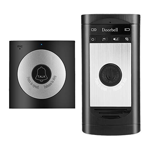 Wireless Voice Intercom Türklingeln Zwei Wege Talk Home Türklingel Intercom Kit LED Indoor Außen Sprechanlage Home Security System(Silver)