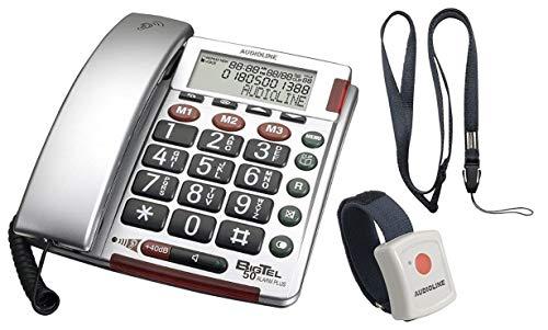 amplicomms BIGTel 50 Alarm Plus, Grosstastentelefon Silber