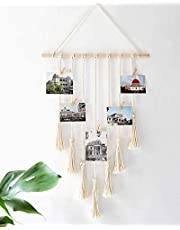 """Hanging Photo Displays - Wall Hanging Picture Organizer, with 25 Wood Clips Boho Hone Decor for Home, Living Room, Bedroom, Best, Ivory White, 42.5"""" L×17"""" W."""