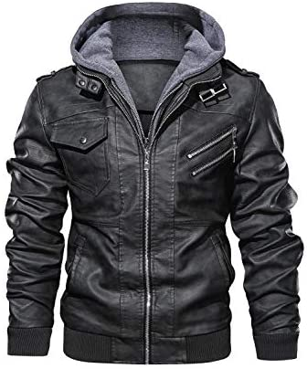 Hood Crew Men s Casual Stand Collar PU Faux Leather Zip Up Motorcycle Bomber Jacket With a Removable product image
