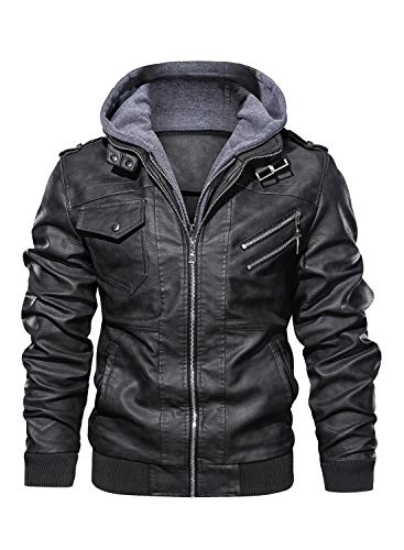 HOOD CREW Men's Casual Stand Collar PU Faux Leather Zip-Up Motorcycle Bomber Jacket with a Removable Hood Black