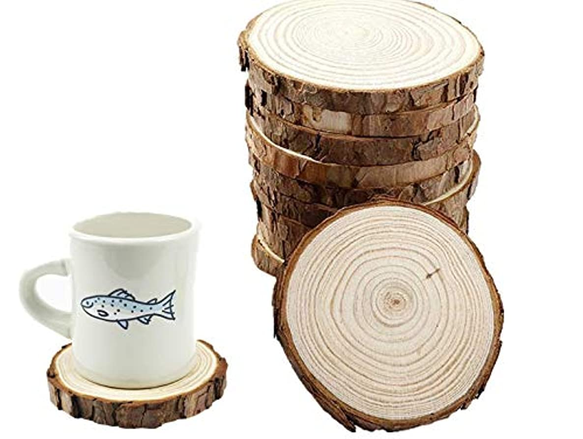 Natural Unfinished Wood Slices with Bark 10pcs 4