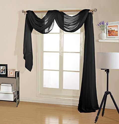 Decotex Premium Quality Sheer Voile Scarf Valance for Home & Event Designs (54' X 216', Black)