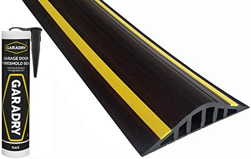 Garadry 1 ½' High Garage Door Flood Barrier Threshold Seal Kit (10'3') | Black/Yellow, Vinyl | Complete Kit, Includes Adhesive