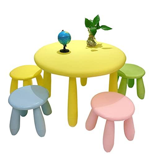 Actividad De Los Niños Conjunto De Mesa De Arte, Aclaramiento Multifuncional Redondo Personaje Para Niños Juego De Actividades De Juego, Ideal Para Artes, Artesanías, (Color:yellow table and 4 stools)