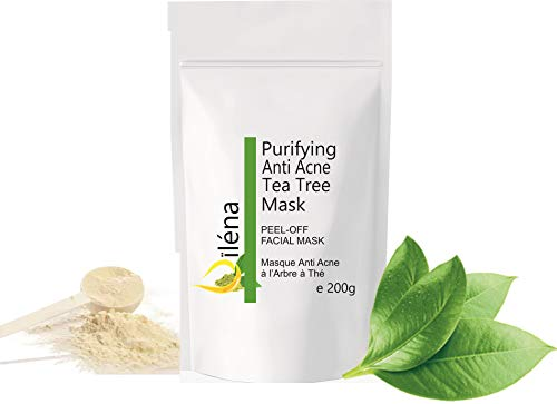 Alginate Peel-Off Feuchtigkeitspuder Maske, Mitesserentferner Gesichtsmaske Vegan, kein Abwaschen, Peeling und Porenreinigung 200 g + freie Dosis (Anti Akne Teebaum Maske)