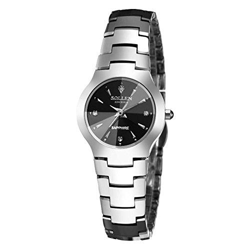 XINLEE Stahl Uhr Zeigeranzeige Quarzwerk wasserdicht Scratch Schmiedeeisen Uhr, Sliver, B