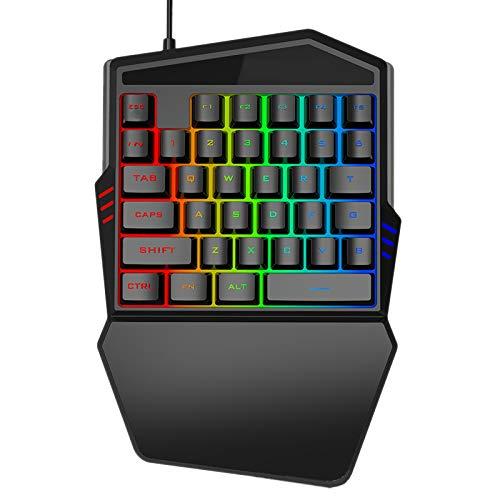 Luntus Teclado de una mano RGB Gaming Keyboard 35 teclas LED Izquierda Teclado para juegos móviles