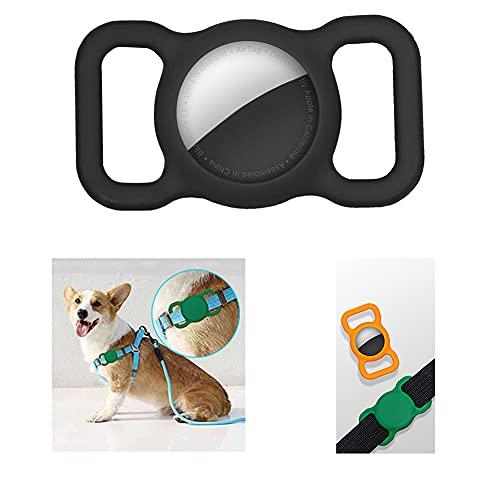 ussr 2 fundas protectoras de silicona para mascotas, adecuadas para collares de perro y gato Apple Airtag, adecuados para collares de mascotas, bolsas de niños y ancianos (negro y rojo) (negro)