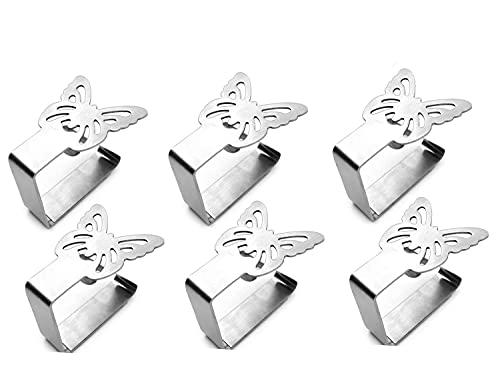 Dingzing Clip Fermatovaglia in Acciaio Inox, 6 Pezzi Tovaglia Clip in Acciaio con Farfalle,Clip per tovaglia per tavoli Fino a 3 cm di Spessore per Outdoor Picnic Party