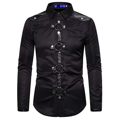 SUMTTER Steampunk Herren Hemd Langarm Gothic Kleidung Manner Uniform für Halloween Karneval Weihnachten