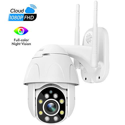 Outdoor Security Camera - TourAlle 1080P HD Pan/Tilt/Zoom Outdoor Surveillance Camera with IP66 Waterproof, Night Vision, Motion Detection, 2-Way Audio,Cloud Storage or SD Card Support