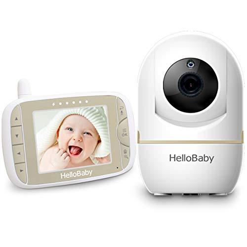 HelloBaby Video Baby Monitor con Telecamera Remota Pan-Tilt-Zoom Schermo LCD a Colori da 3,2 Pollici Infrarossi Night Vision Monitoraggio Della Temperatura HB65 (Oro champagne)