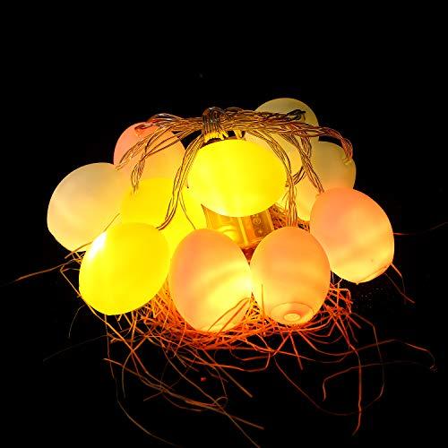 Herefun Huevos de Pascua Cadena de Luces LED, 1.65M 10 Luces LED para Pascua LED de cadena Huevo Luces Led Cadena Luz, Decoración para Pascua Fiesta de Cumpleaños Patio Hogar Jardín