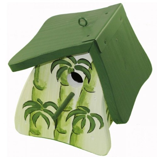Die Vogelvilla Nistmini Wellness mit Bambus weiß-grün Vogelhaus Nistkasten Deko Vogel