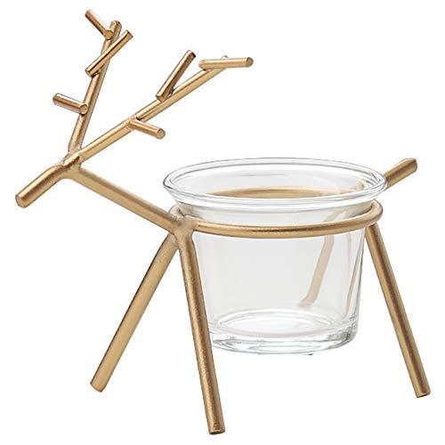 Hapeisy 2 Stück Metall-Rentier Kerzenhalter, nordische niedliche Kerzenhalter Rehkitz Kerzenhalter mit Kerze Glas Tasse Weihnachtsdekoration für Zuhause, Tisch, Kamin, Fenster