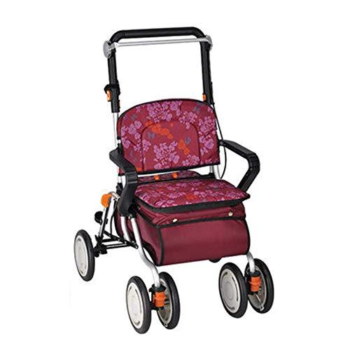 Einkaufsroller klappbar Schieben/Ziehen, Walker Rollator Walker für Senioren, 4 Räder Rollator mit Bremsen Faltbare 4 Räder Korb mit Deckel Einstellbare Höhe