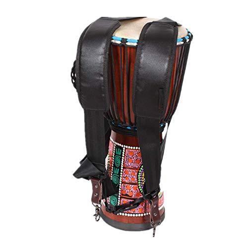 Correa bandolera de nailon para Djembé acolchada, correa de tambor africano, ajustable, arnés de doble correa, apto para la cintura de 130-190 cm, tejido transpirable y negro