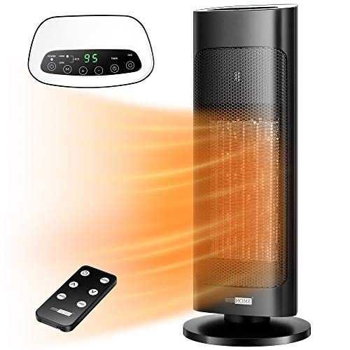 VIVOHOME 1500W Ceramic Space Heater with Remote Control, High/Low/ECO 3 Modes Fast Heating Tower Heater with 24hr Timer, 80° Oscillation, 40℉- 95℉ Adjustable Thermostat, ETL Listed, Black