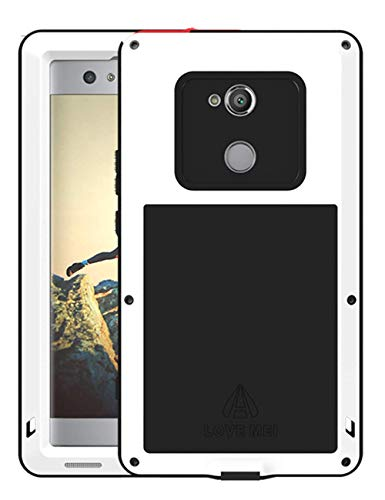 UFinetech 360 Anti-Golpes Sony Xperia XA2 Ultra Funda, Ultra Movil Silicona TPU Gel Protectora Flexible Funda para Sony Xperia XA2 Ultra Bumper Anti-Arañazos Anti-Rasguño Templado Vidrio (Blanco)
