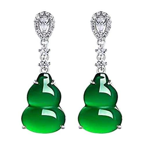 Jingmeizi - Pendientes de tuerca con forma de calabaza, color verde y blanco con circonita cúbica para mujer
