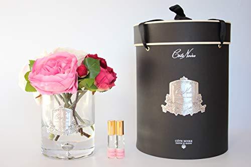 Côte Noire Gamme de luxe parfumée 5 pivoines avec bourgeons Bouquet de fleurs dans un vase en verre transparent - Bouquet varié