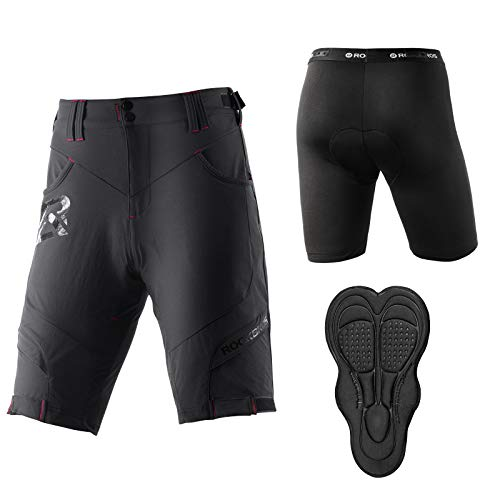 ROCKBROS Radhose Herren Kurz Fahrradhose MTB Schnelltrocknende Hose Sport Shorts Atmungsaktiv Anti-Stoß für Outdoor Aktivitäten