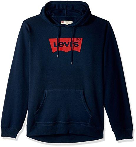 Levi's Men's Classic Logo Hoodie, Dress Blue/Batwing Logo, Large Blue Classic Logo Hoody Sweatshirt