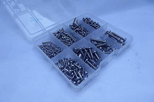 240 tornillos autoroscantes de acero inoxidable A2-70 surtidos en una caja de compartimiento.