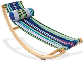Rocking Cotton Hammock with Stand for Kids, Small Wood and Fabric Contemporary Vintage Hammock for Children with a Stand & E-Book