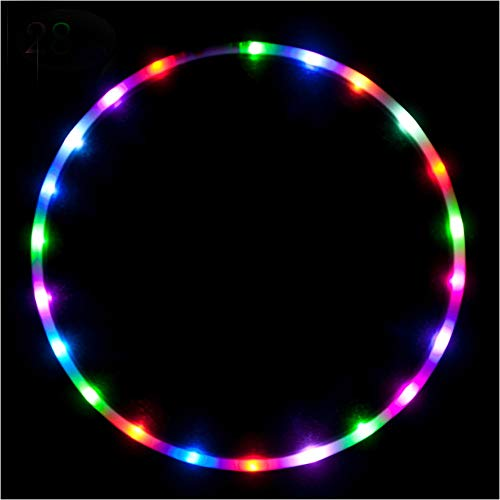 willway 36 inch LED Hoop, 28 Color Strobing and Changing Hoop Light Up LED Dancing Hoops for Kids and Adults - Collapsible